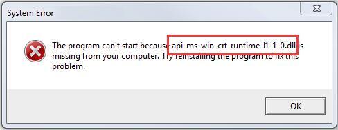 Sửa lỗi api-ms-win-crt-runtime-l1-1-0_dll is missing