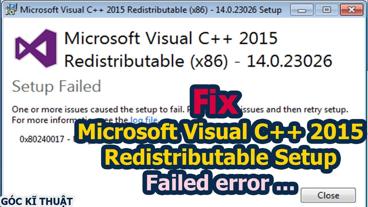 lỗi không cài được visual c++ 2015