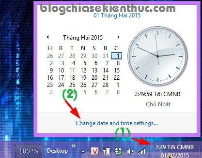 Cách chỉnh giờ trên máy tính win 7